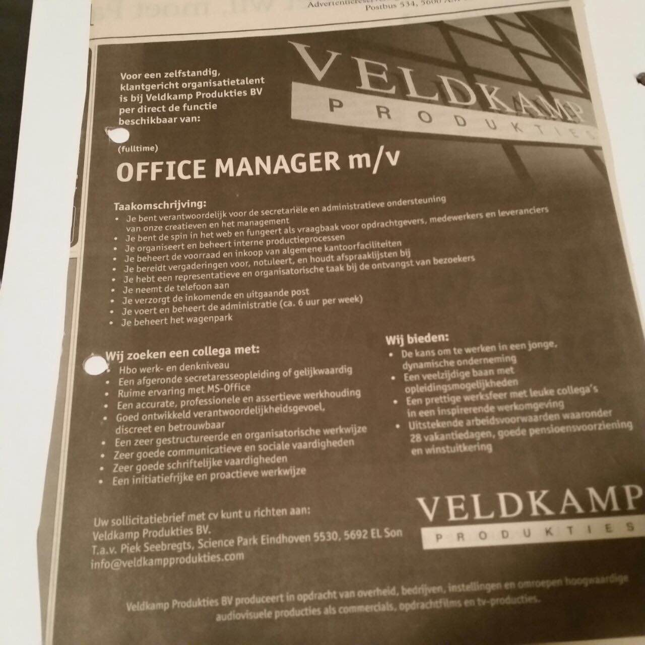 Office Manager vacature