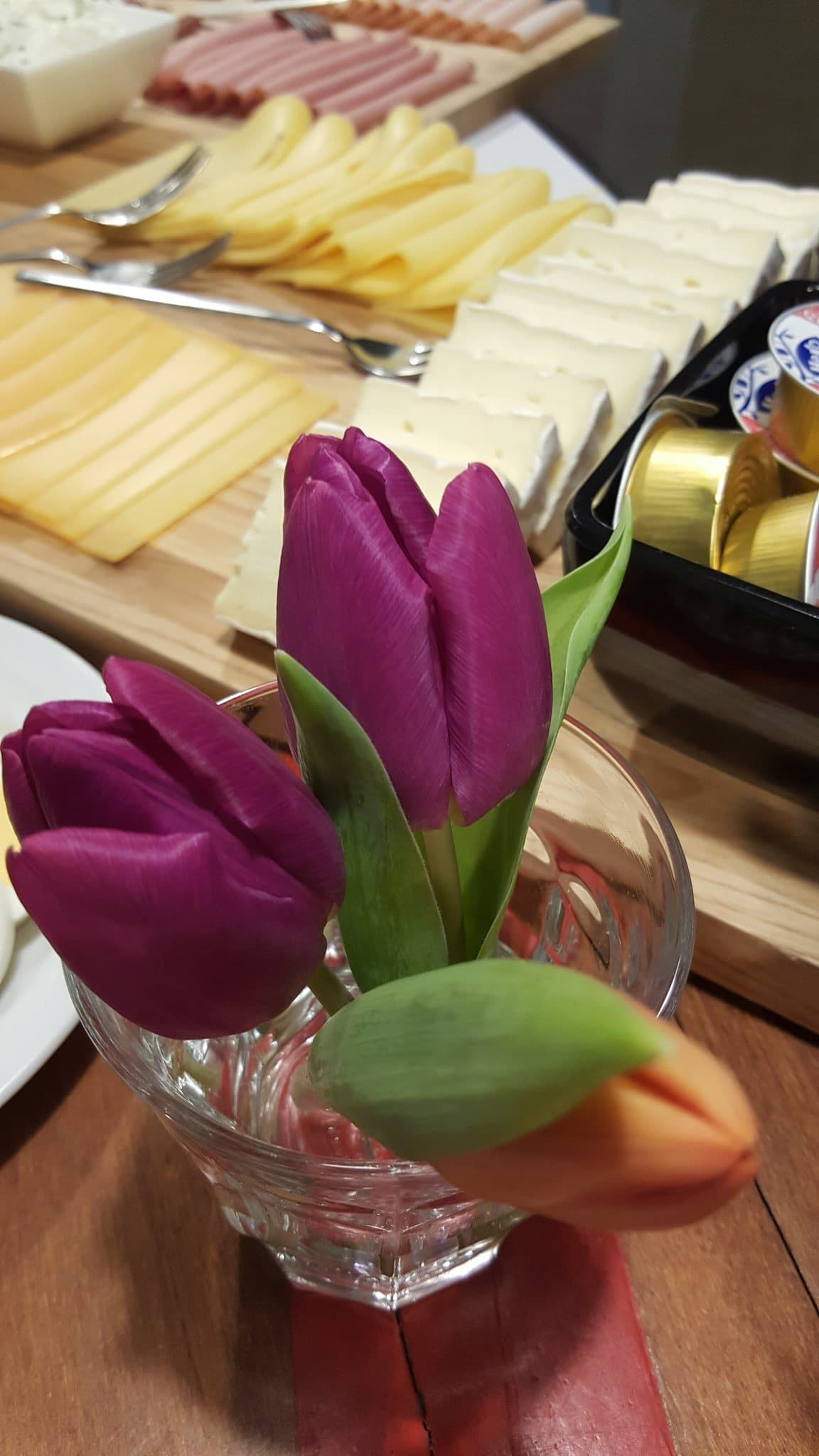 Nieuwjaarsontbijt, paarse tulp