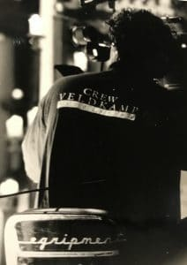 Jeroen Veldkamp op een dolly tijdens de opnames van Inwear / Matinique