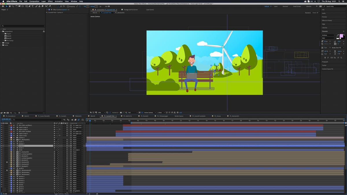 Interface van After effects met de tijdlijn van een video montage