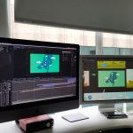 Hans met de video montage van een animatie