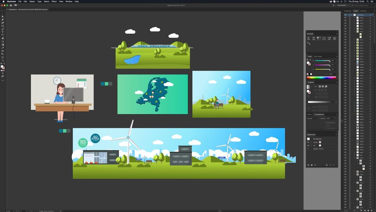 De video montage van een animatie in Illustrator